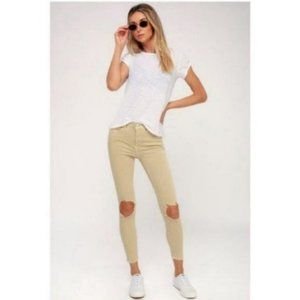 NWT Free People High Waist Busted Knee Jeans